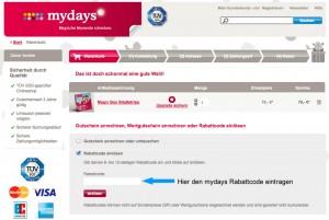 Hier kann man den Mydays Rabattcode eintragen